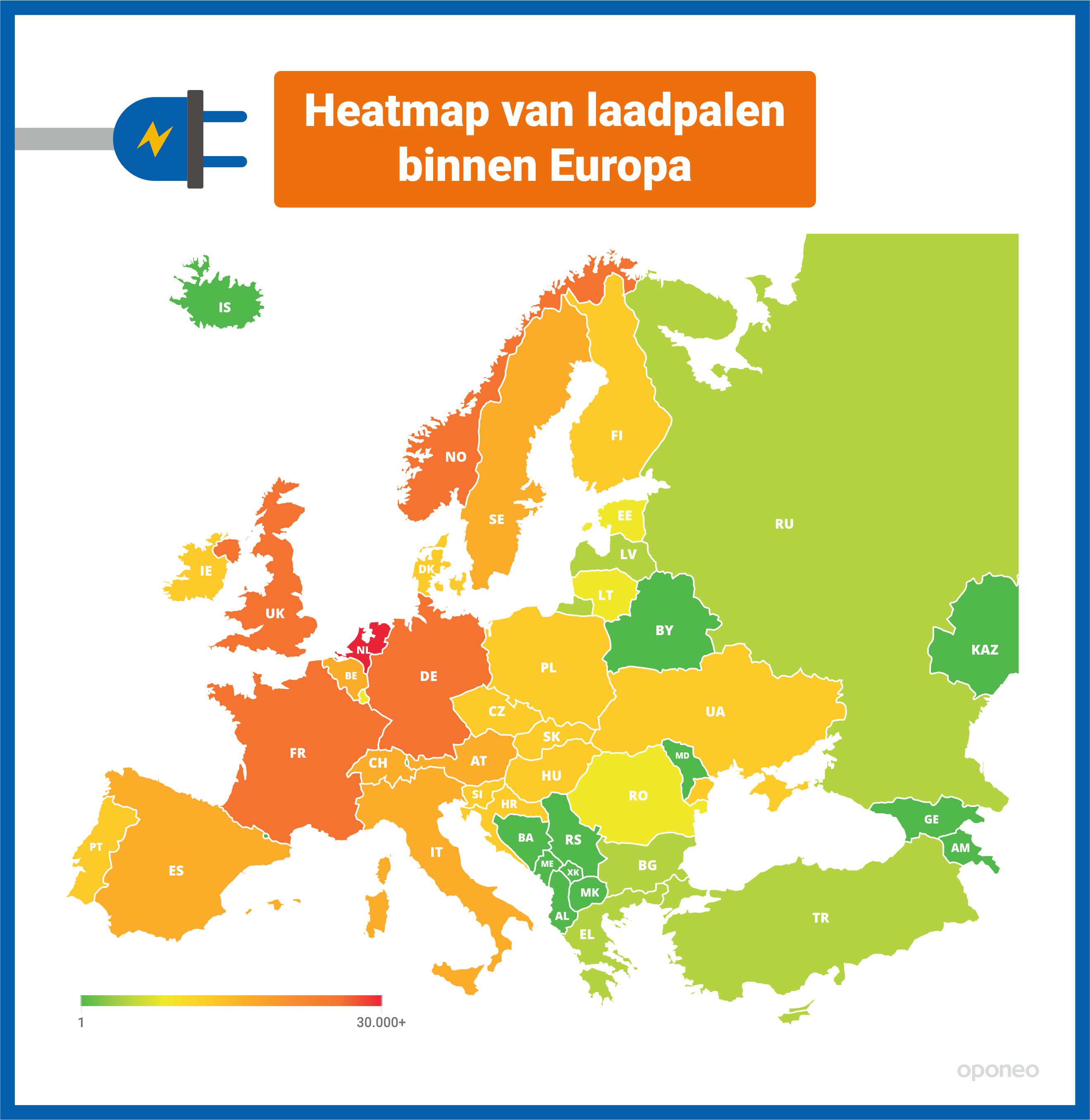 Heatmap van laadpalen binnen Europa | De elektrische auto in Europa; hoe gaat het nou eigenlijk?